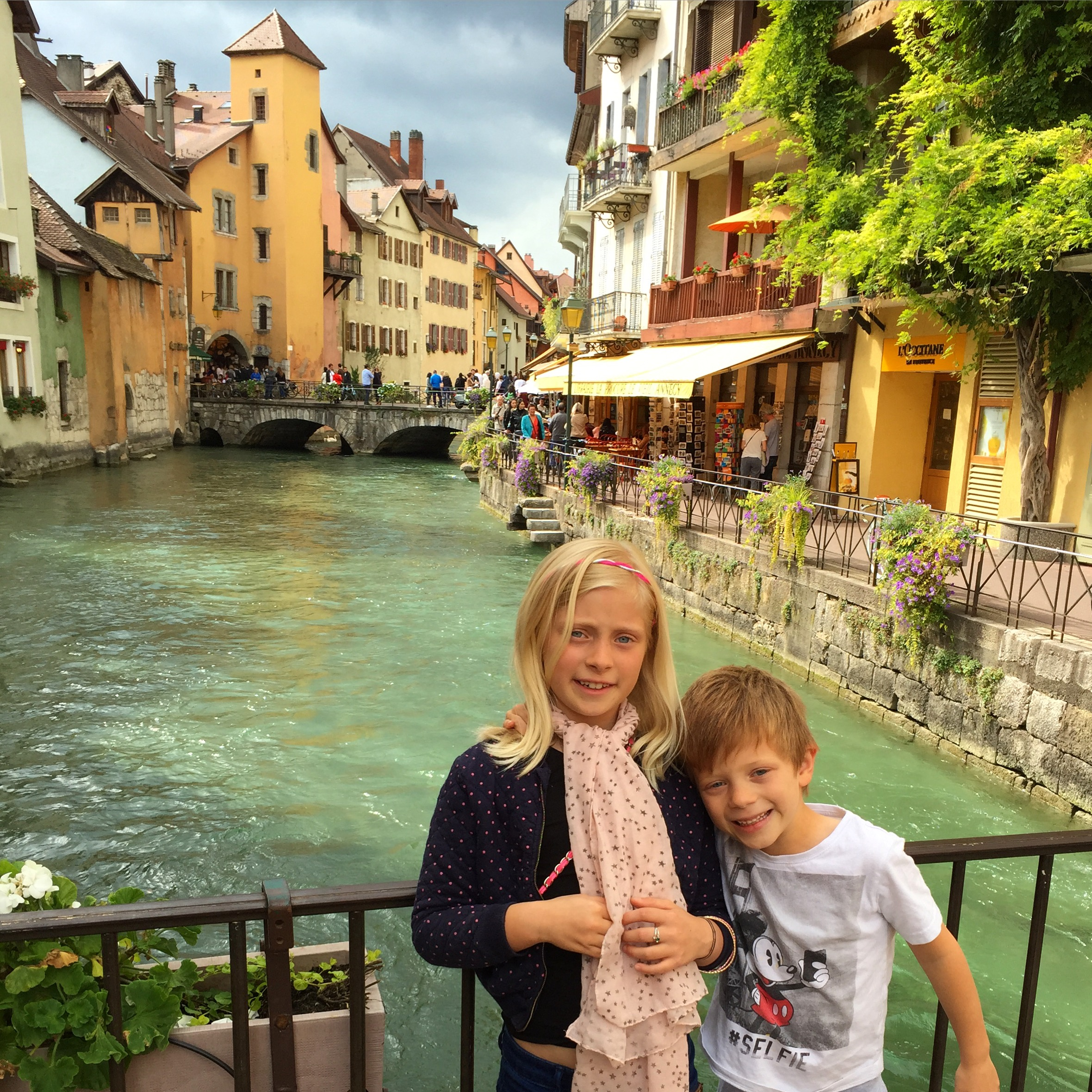 Bianca and Benjamin in the old town of Annecy. It's known as the Venice of France as there are many canals flowing through the city.