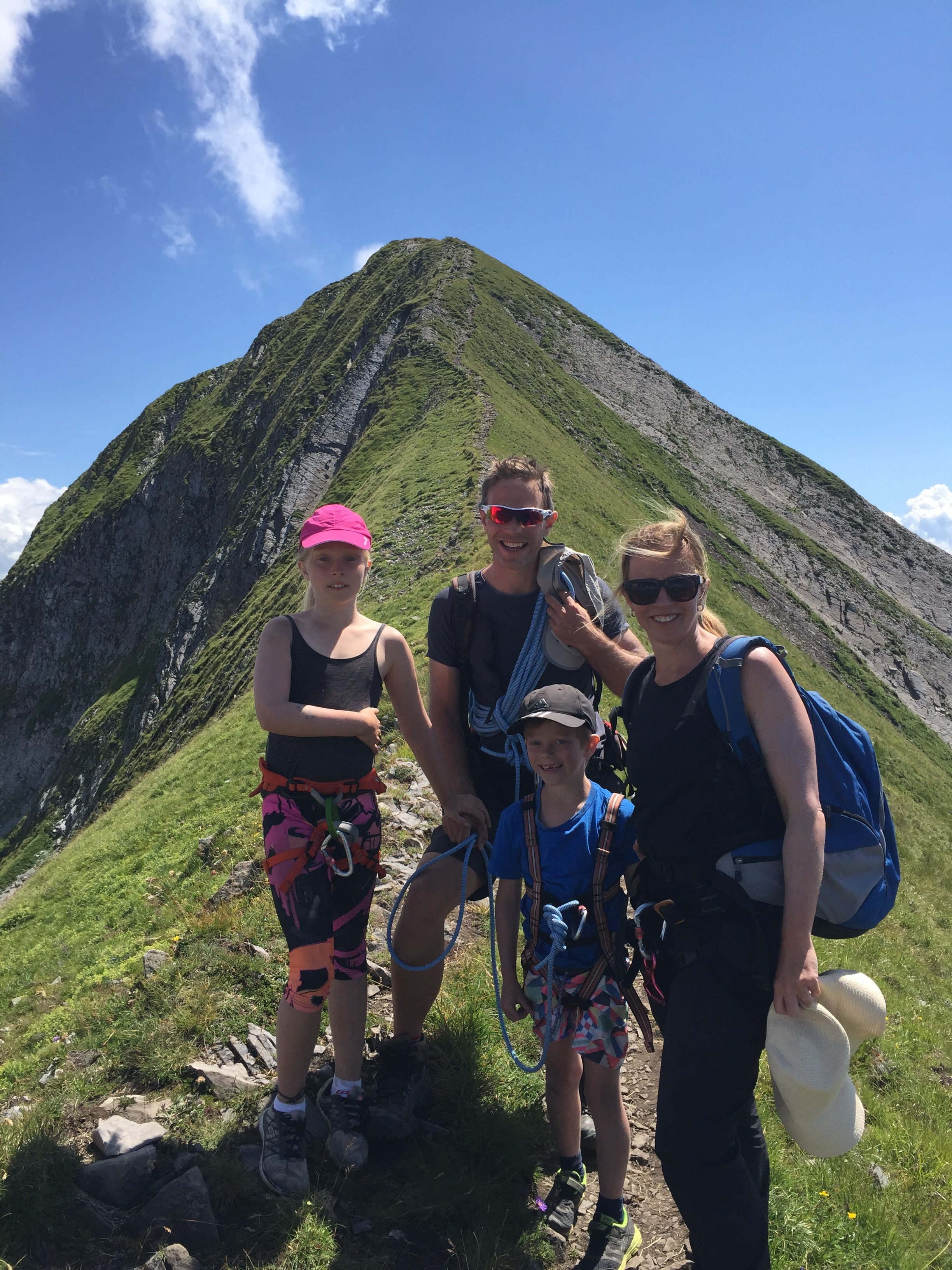 Bianca, Paul, Benjamin and Fiona climbing Mt Sharvin in France