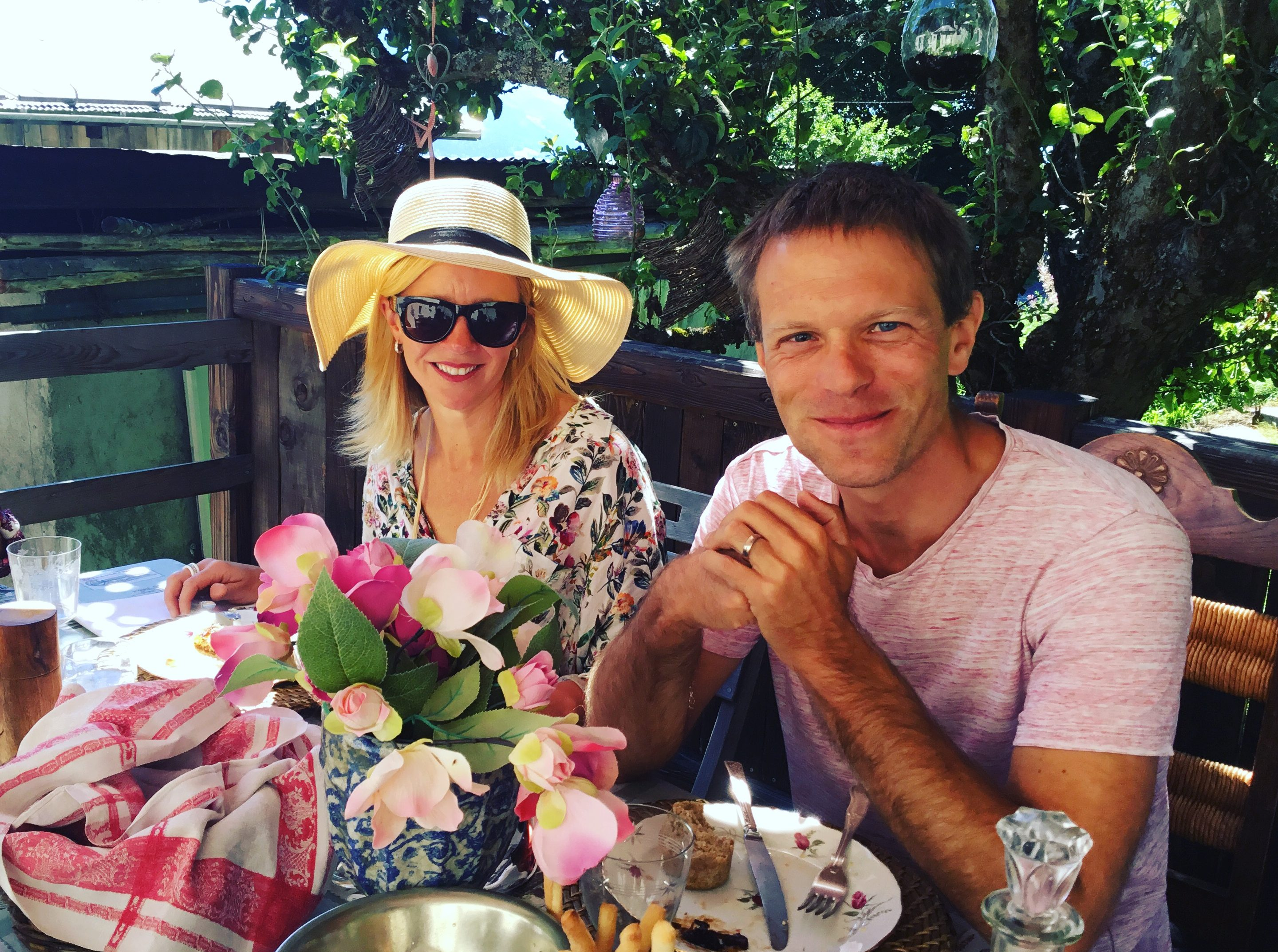 Fiona and Paul enjoying lunch at a friends chalet
