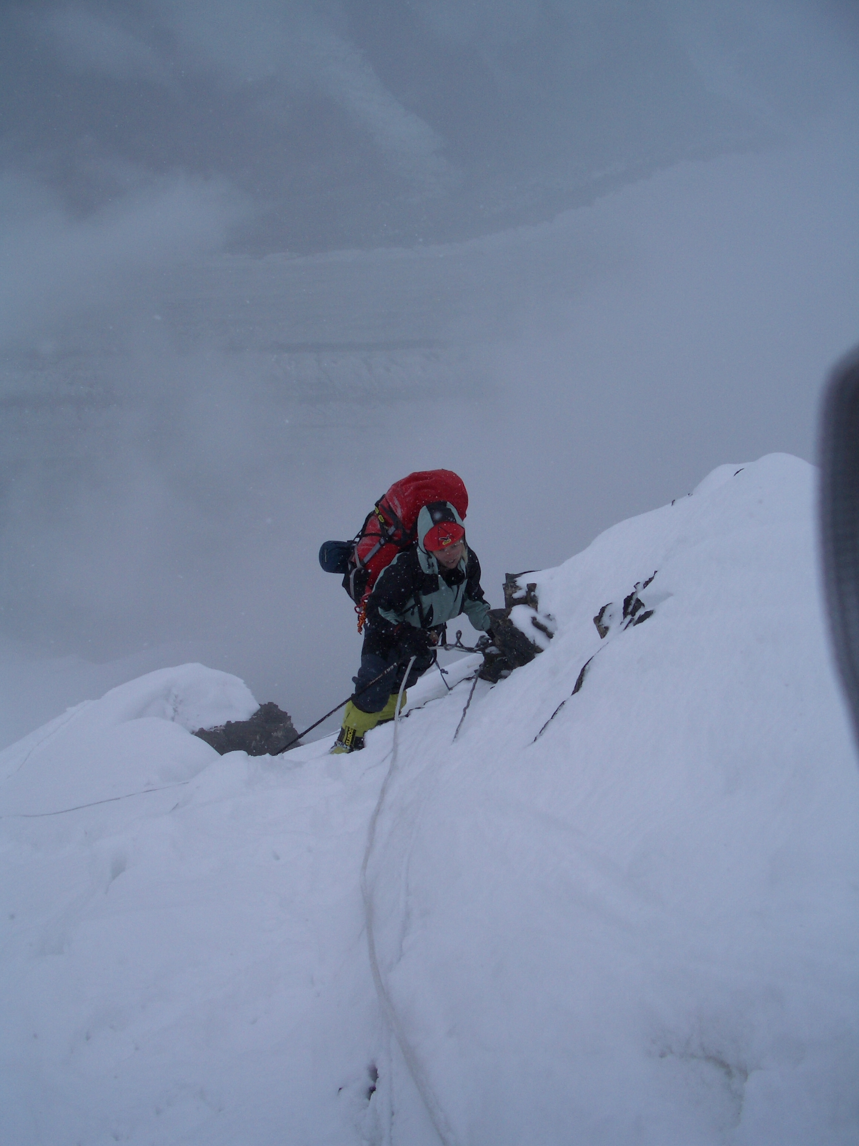 Fiona climbing up to camp 2 (Khan Tengri)