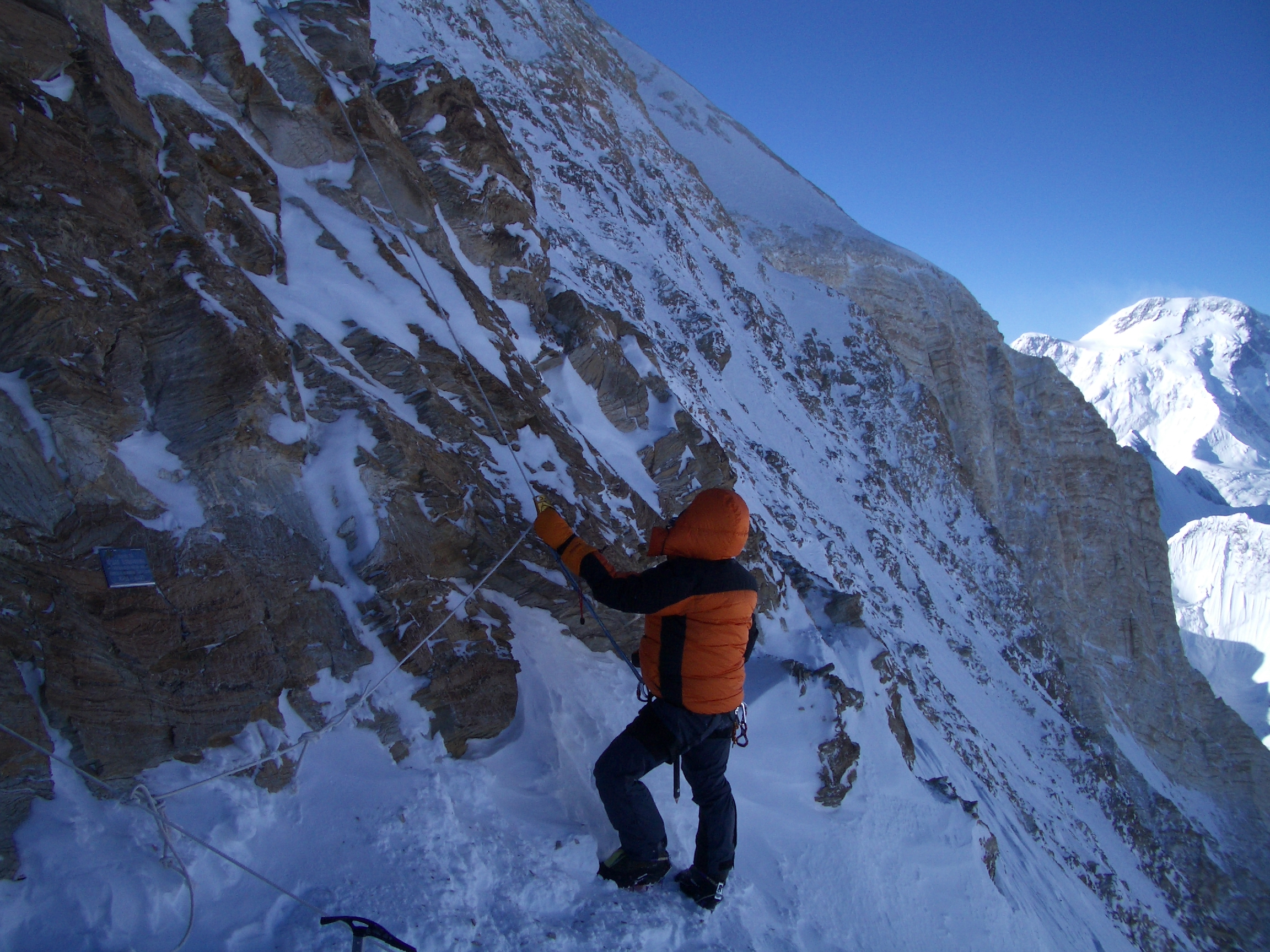 Fiona, summit day at a steep section, Khan Tengri