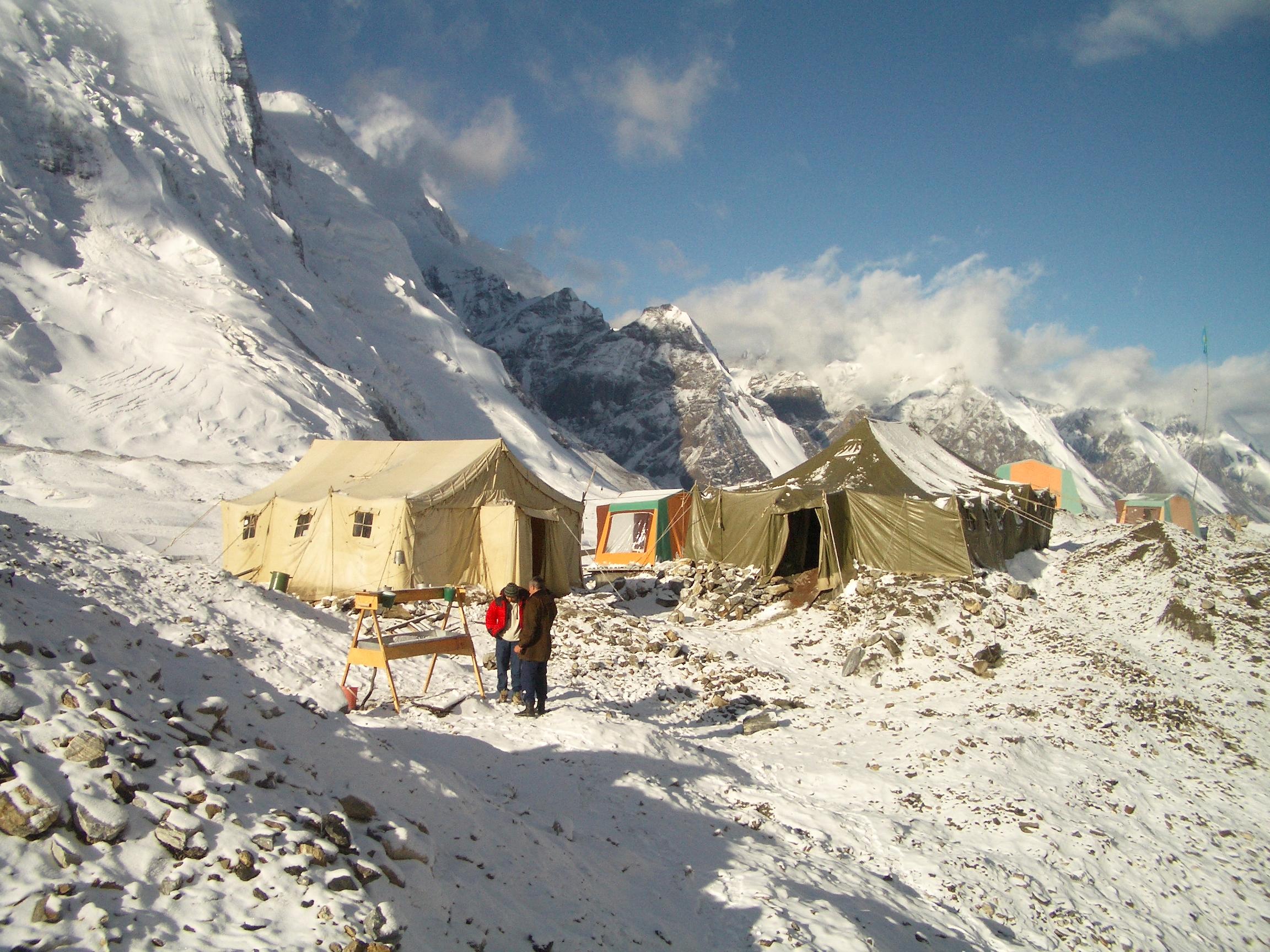 The setup at basecamp, Khan Tengri