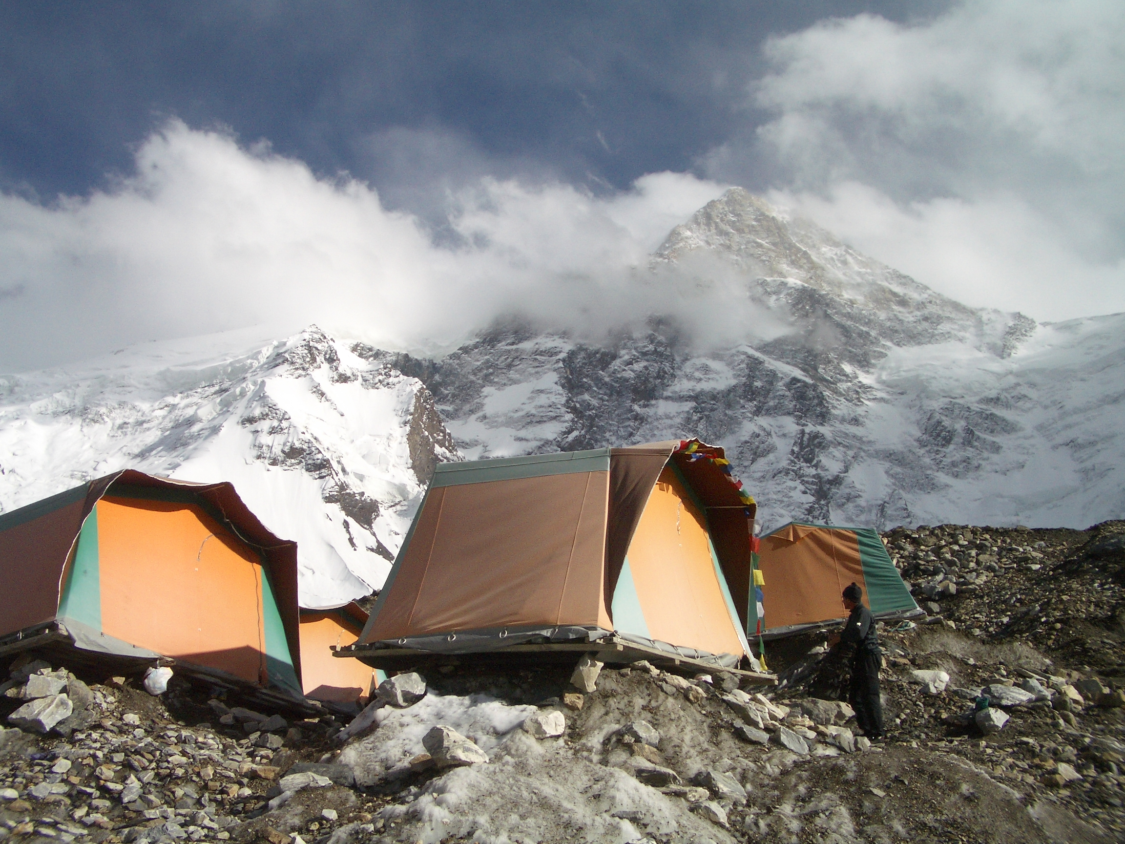 The tents on the glacier at basecamp, Khan Tengri