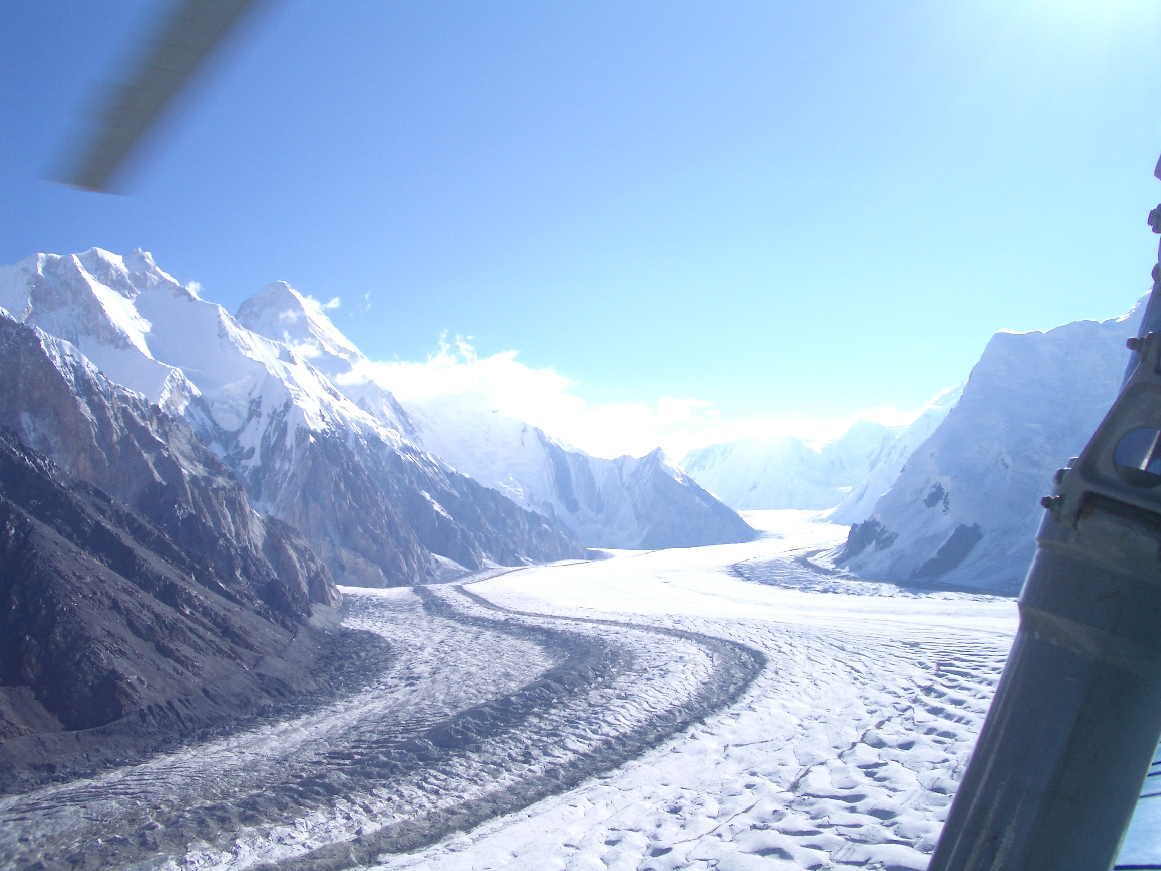 Flying by helicopter into basecamp, Khan Tengri