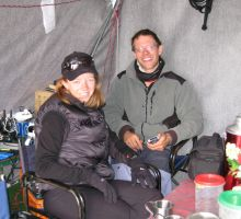 Fiona and Paul in the dining tent at Everest basecamp