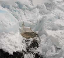 The toilet at camp 2 was initially a plastic bag strung between ice blocks - you needed a rope to get up to here