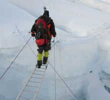 There were around 20 ladders on Everest - most between basecamp and camp 1, but a few between camps 1 and 2 as well