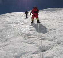 Fiona climbing the Lhotse face on Everest South Side