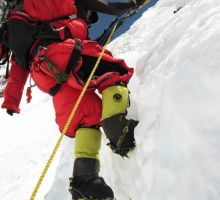 Hard work climbing on Mt Everest