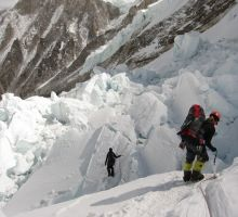 Fiona heading down the icefall