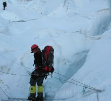 Fiona on a ladder in the Everest icefall