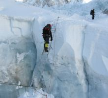 And another ladder in the Everest icefall