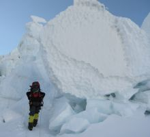 Walking underneath an iceblock in the icefall