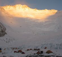 Late sun on the Lhotse face from camp 2