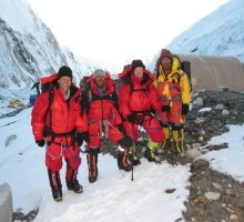 Paul, Mingma, Fiona & Dasona leaving camp 2 heading up for our summit bid