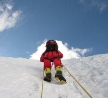 Fiona climbing up to camp 3 on Mt Everest