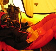 Fiona resting and using oxygen at camp 4