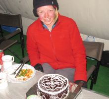 Back down in basecamp after being served a special cake to celebrate the climb