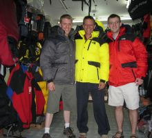 Damien, Paul and Tim shopping for down jackets in Kathmandu