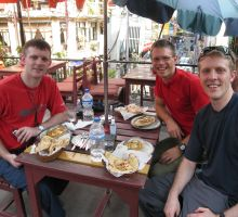 Tim, Paul and Damien enjoying some great Indian food in Kathmandu (Paul's favourite restaurant there)