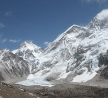 Looking up at Everest (the one with the cloud plume coming off it) from Kala Patar