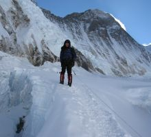 Paul climbing near Camp 2 on Everest