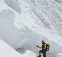 Rudi climbing up through the icefall on Everest