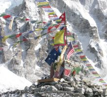 The altar for our group at Everest basecamp (note the Australian flag)