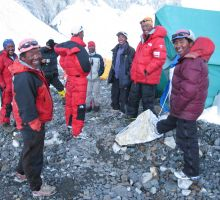 Sherpa meeting at Camp 2 on Everest