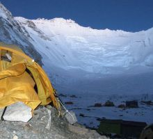 A tent at Camp 2 on Everest at dusk