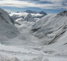 Low clouds in the valley on Everest