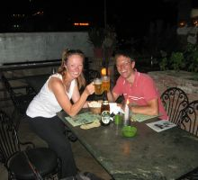 Fiona and Paul celebrating a dream come true in Rumdoodle, Kathmandu
