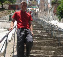 Paul on the steps of Monkey Temple in Kathmandu