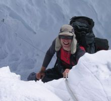 Paul climbing up a steep section on the way to camp 2 on Mount Everest