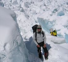 Paul climbing in the icefall