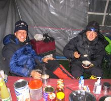 Paul and Attila at basecamp - fuelling up before heading further up the mountain
