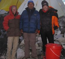 Remi, Ptemba and Fiona - anxiously awaiting news as Paul and Attila make their summit bid on Everest