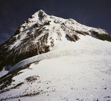 Looking up towards the summit from camp 4 on Mt Everest
