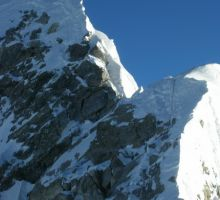 The final part of the climb showing Hilary's Step on Everest