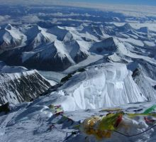 From the summit of Everest looking down toward Tibet - you can see the track used by climbers from the North side