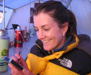 Bridget reading your congratulations messages on our PDA in the mess tent. Photo Paul Adler.