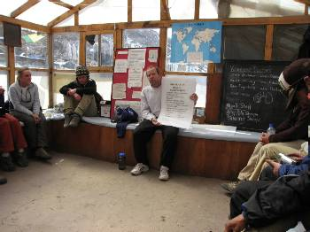 Listening to the lecture at the HRA medical clinic in Pheriche