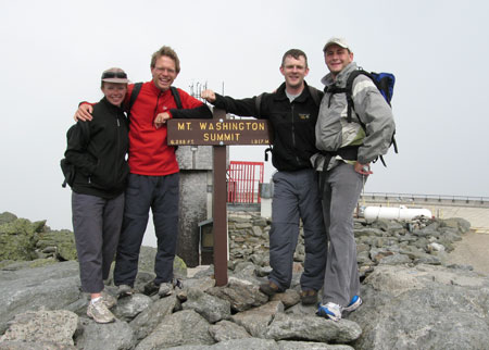 Fiona, Paul, Tim and Andy on top of Mt Washington. Photo Paul Adler