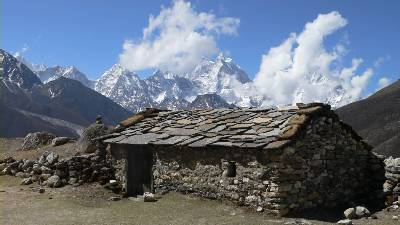 A stone hut used to graze yaks in the summertime. Photo: Cas
