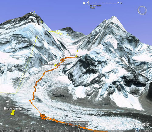 Paul's track up through the Icefall to Camp 1. Image from Google Earth by Nick Grainger with thanks to Gary Nicholson of imapping.co.nz