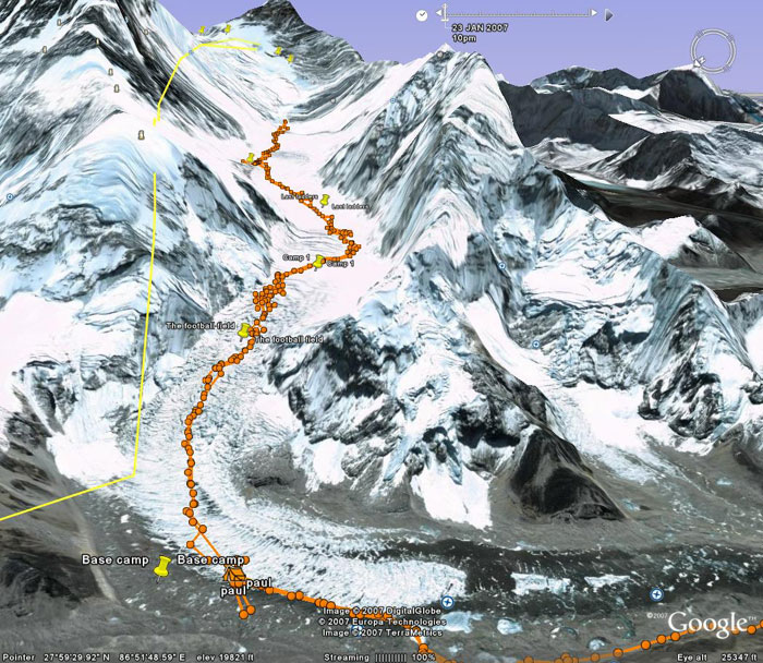 Paul's track up from Base Camp, to Camp 1 then on to Camp 2. His previous track up to the base of the Lhotse face is also showing from Camp 2. Image from Google Earth by Nick Grainger
