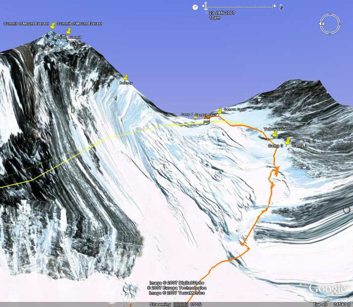 Paul's track from camp 2, up the Lhotse face to camp 3, then on up to camp 4 on the South Col. Image from Google Earth by Nick Grainger