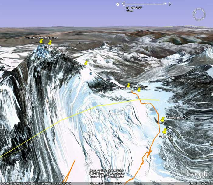 Everest from the WSW. Image from Google Earth by Nick Grainger