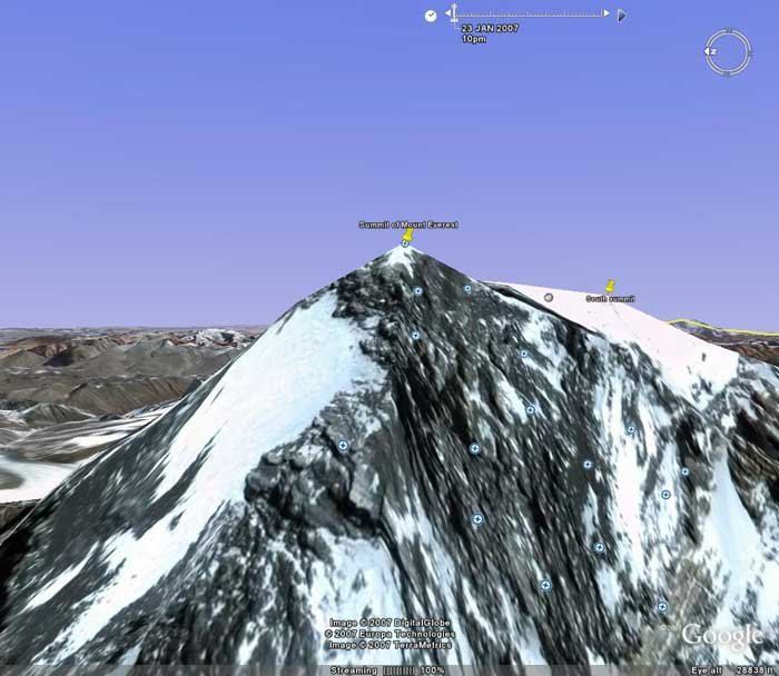 The summit of Everest from the west. Image from Google Earth by Nick Grainger