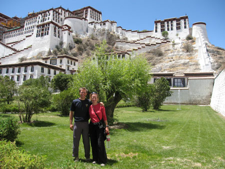 Paul and Fiona outside the Potala Palace. This is where the Dalai Lama once ruled from and resided.